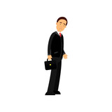 Frustrated businessman character standing with briefcase, business and financial failure, economic crisis vector Illustration - 176812703