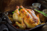 Crispy roasted chicken with spices and vegetables - 176812778
