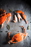 Ingredients for fresh crab with allspice and bay leaf - 176815118