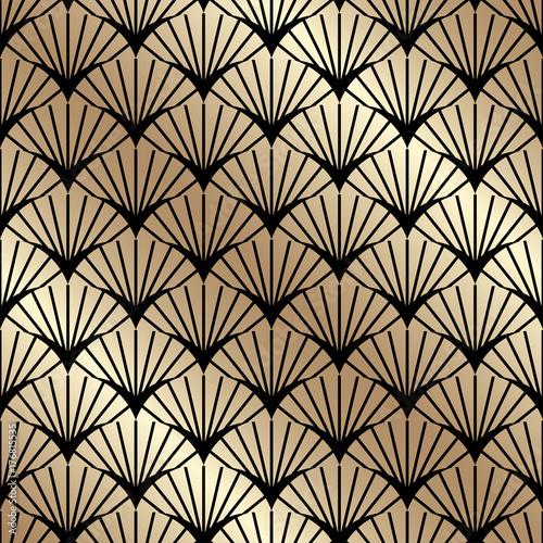Naklejka Golden seamless pattern in art deco style. Template for design. Vector illustration eps10