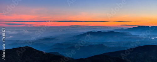 Poster Oranje eclat Panoramic view at valley on early morning before sunrise from Sri Pada (Adam's Peak), Sri Lanka.