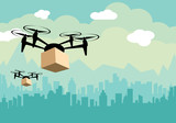 Delivery drone with the package - 176817533