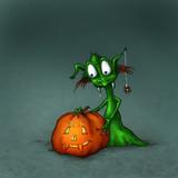 Halloween Monster mit Kürbis - 176819186