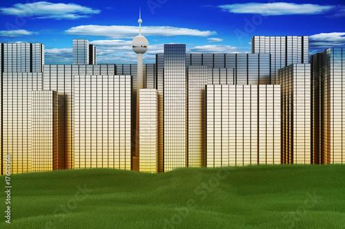 View of a big city, 3d illustration
