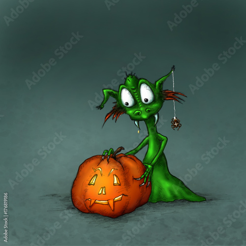 Halloween Monster mit Kürbis