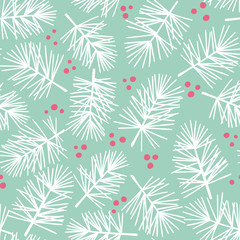 Fir tree branch seamless pattern, winter background