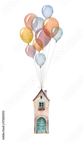 A little house flying on balloons. Watercolor illustration isolated on white background. - 176820312