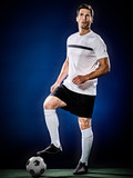 one caucasian soccer player man isolated on black background - 176821397
