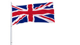 Flag of Great Britain on a flagpole fluttering in the wind on a transparent blue background, 3d rendering - 176825555