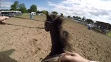 horseback barrel racing pov woman rides hard and pets her horse - 176826753