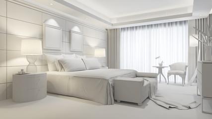 Elegantes Zimmer im Hotel in weiß