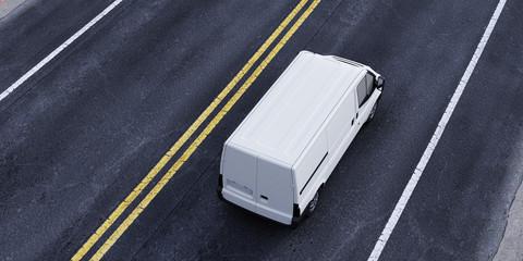 Van Transporter auf Straße von oben