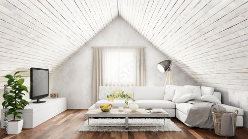 Helles Wohnzimmer mit Sofa im Dachgeschoss © Robert Kneschke