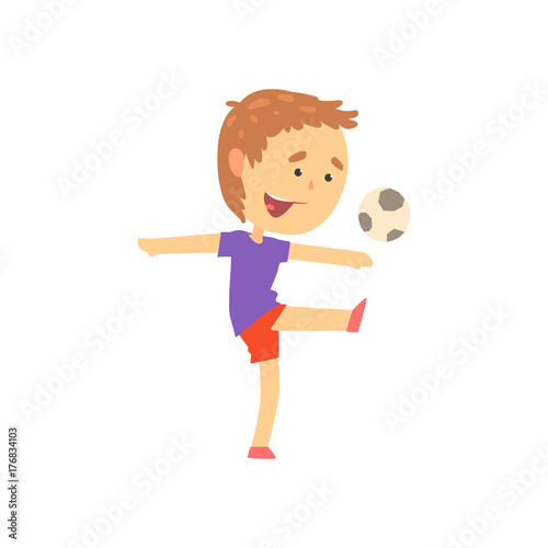 Boy playing playing soccer, kids physical activity cartoon vector Illustration