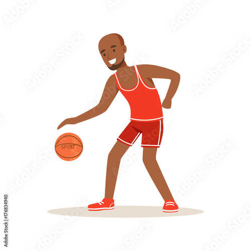 Male basketball player character, active sport lifestyle vector Illustration