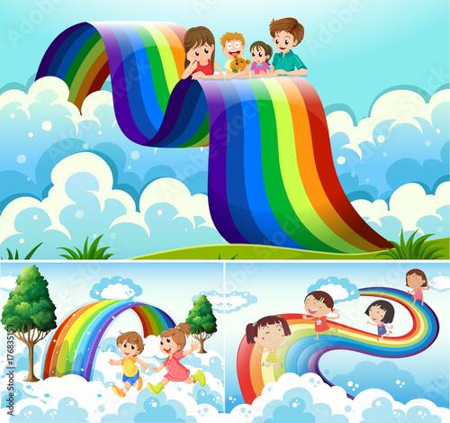 Fotobehang Lichtblauw Happy children over the rainbow