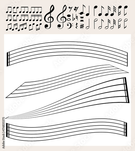 Foto op Aluminium Kids Music notes and scale template