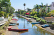 Quadro Boats in canal in Venice, Los Angeles, United States.