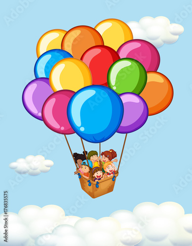 Tuinposter Kids Happy children riding on balloons