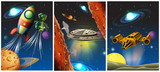 Three scenes with spaceship and robot in space - 176835792