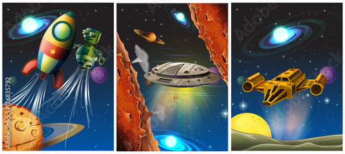 Tuinposter Kids Three scenes with spaceship and robot in space