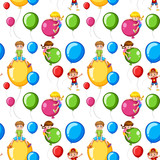 Seamless template kids on colorful balloons - 176835903