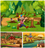 Lumber jacks working in the forest - 176835904