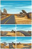 Different scenes with road in desert land - 176835907
