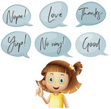 Girl and different speech bubbles with words - 176835989