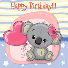 Greeting card Koala girl with balloon