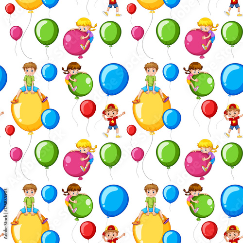 Aluminium Kids Seamless template kids on colorful balloons