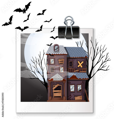 Fotobehang Kids Photo of haunted house at night