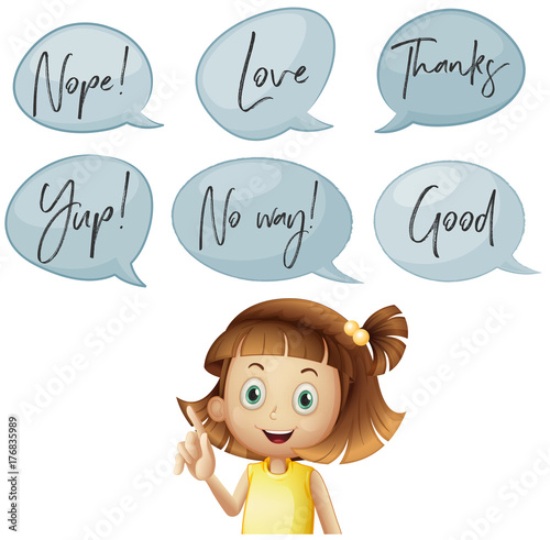 Aluminium Kids Girl and different speech bubbles with words