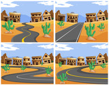 Four scenes with roads in the western town - 176836114