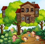 Children and treehouse in the park - 176836175