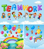 Children and balloons for word teamwork - 176836305