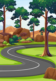 Curve road in the woods - 176836328