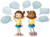 Cute girl with blank speech bubbles - 176836359