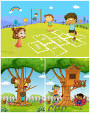 Three scenes with kids playing in the park - 176836365
