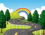 Park scene with road and rainbow in background - 176836394