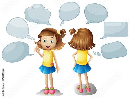 Staande foto Kids Cute girl with blank speech bubbles