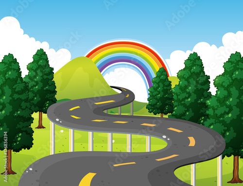 Aluminium Kids Park scene with road and rainbow in background