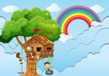 Children playing on treehouse - 176836523