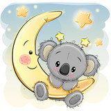 Fototapety Cute Koala on the moon
