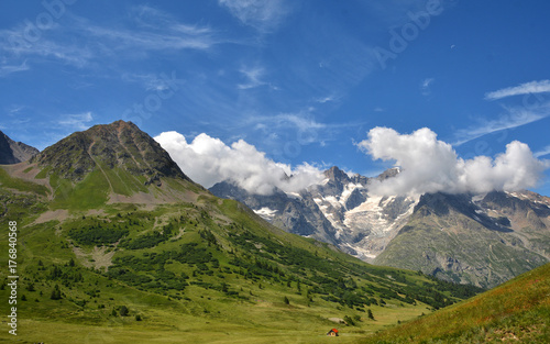 Beautiful view from Col du Lautaret, high mountain pass in the department of Hautes-Alpes ,communication route between Grenoble and Briancon
