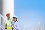 Male engineer and female engineer Working at turbine. - 176842799