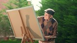 Senior painting on a canvas with a paintbrush - 176843131