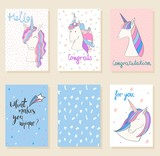 Collection of cute artistic cards for kids. Magic cute unicorn in vector. - 176845313
