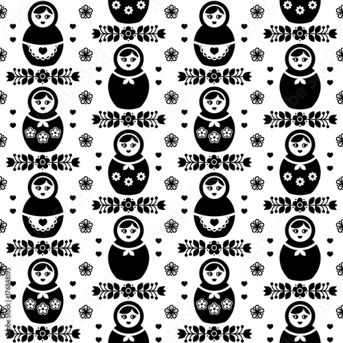 Materiał do szycia Russian doll vector seamless pattern -  Matryoshka, folk art design in black and white