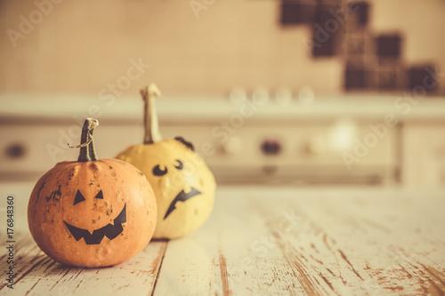 Halloween concept - pumpkins and decorations Poster